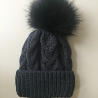 READY TO SHIP knitted navy cabled faux fur pompom hat beanie winter warm