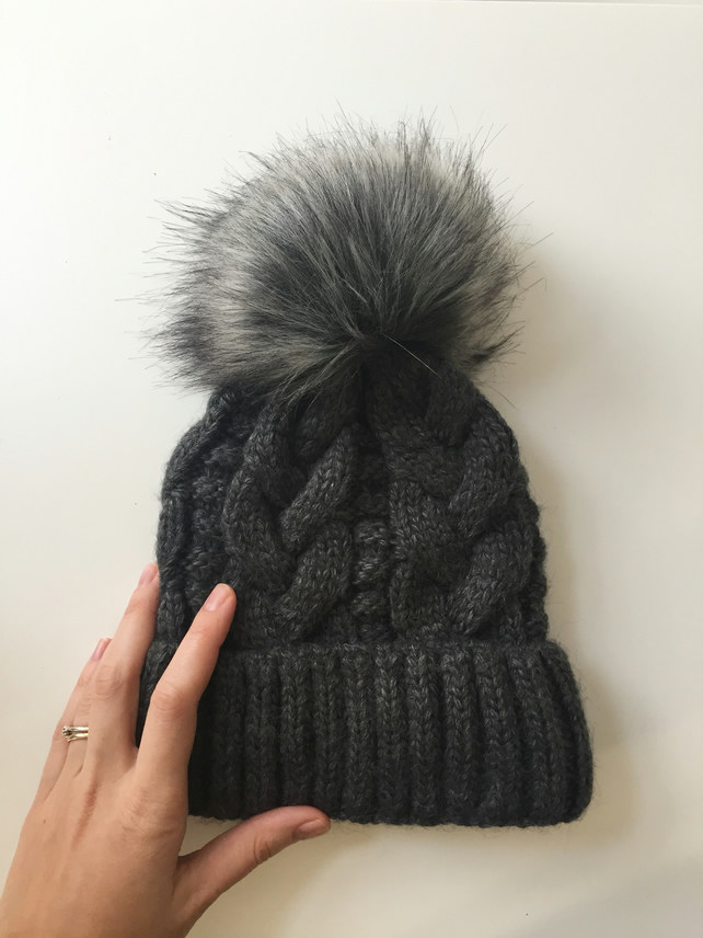 READY TO SHIP Faux Fur Pom Pom Knitted Wool Hat... - Folksy 0f8b61e9f77