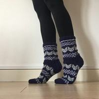 Blue grey fox wool socks winter fairisle scandinavian norwegian