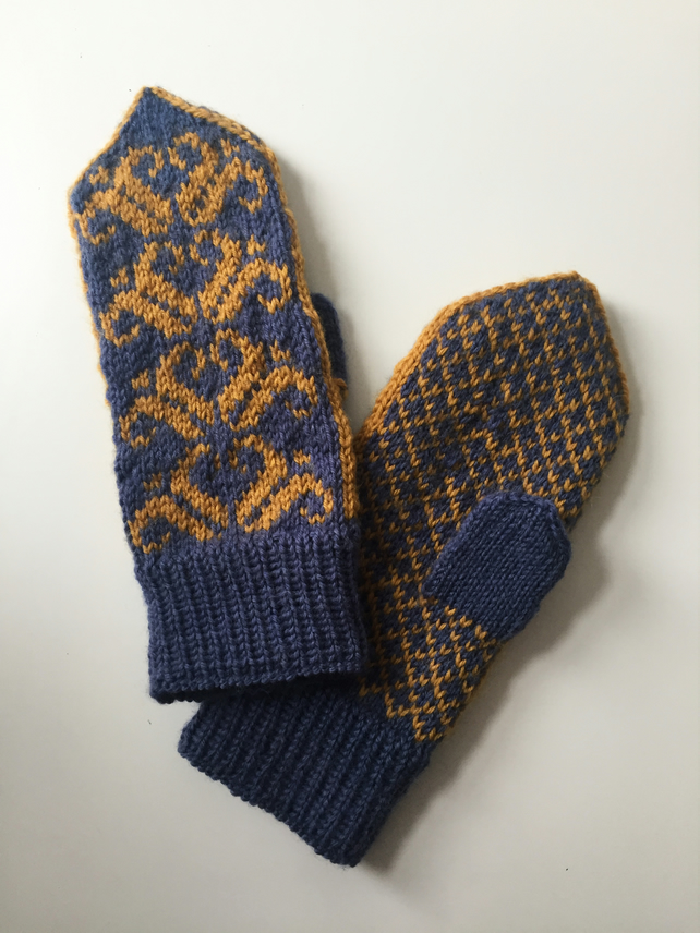 READY TO SHIP Hand Knitted Blue Yellow Wool Mittens Traditional Floral Nordic Sc