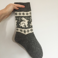 READY TO SHIP White Grey Wool Socks Grey Rabbit Bunny Hare Fairisle Winter