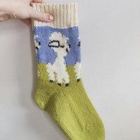 Knitted wool socks spring lamb easter green blue white fairisle nordic norwegian
