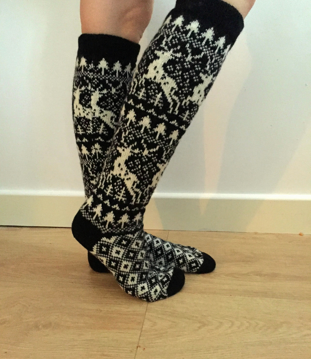 READY TO SHIP long knee length wool socks reindeer fair isle winter nordic
