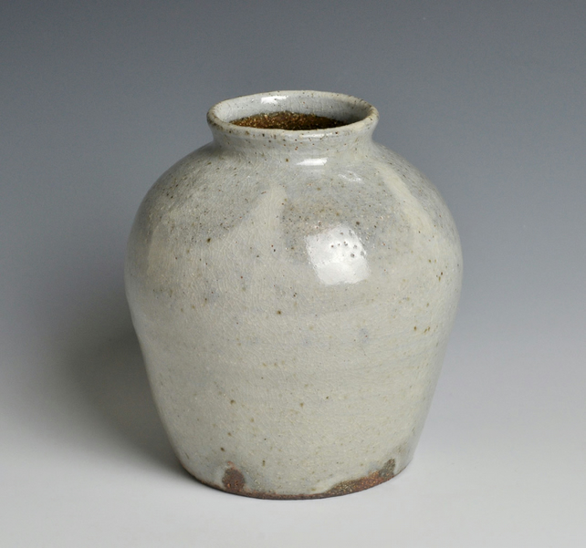 A wood-fired, stoneware vase
