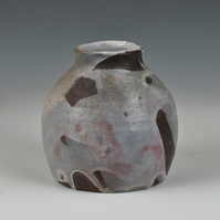 A wood fired vase with Japanese style shino glaze