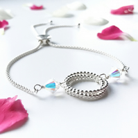 Silver and crystal eternity bracelet with slider feature