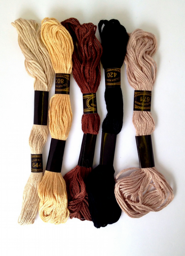 Pack of 5 Embroidery Floss Skeins Browns Mix