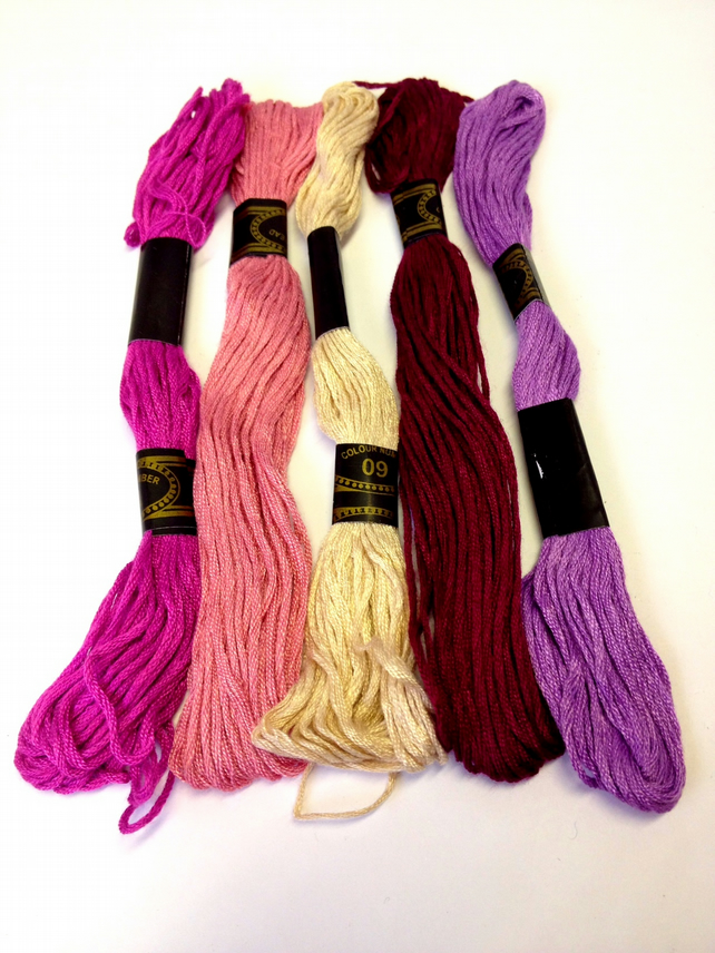 Pack of 5 Embroidery Floss Skeins Pinks Mix