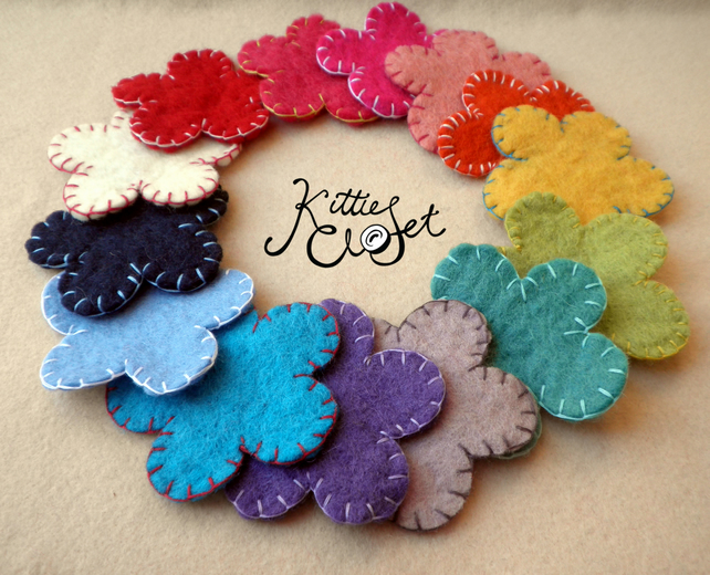 Mixed Pack of x10 Big 8cm 100% Wool Felt Stitched Flowers