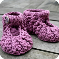 Lilac crochet mary jane booties