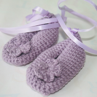 Lilac crochet baby ballet slippers