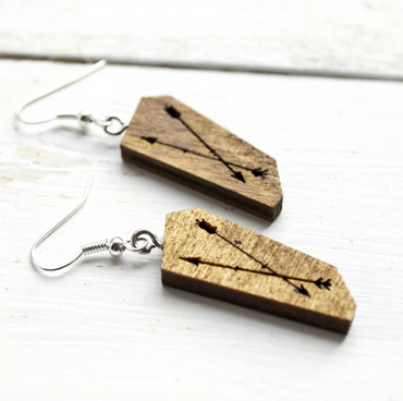 Laser cut wood Geometric arrow design earrings in Golden Oak