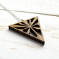 Large laser cut wood Starburst necklace - Golden Oak Colour