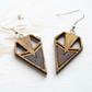 Skye earrings - Laser cut wooden earrings with Geometric point design in Golden