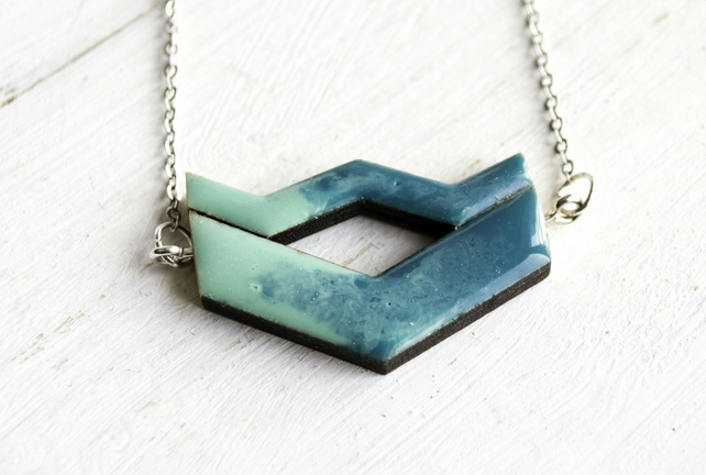 Ocean Foam Chevron necklace made with resin and laser cut wood 0204C