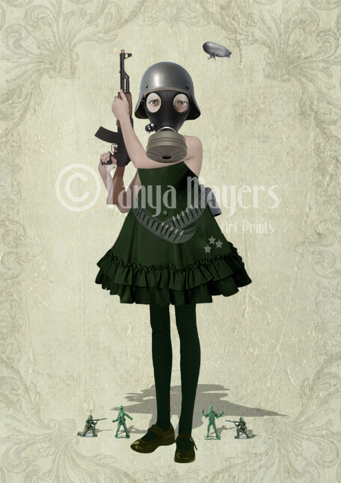 A4 Art Print Soldier girl & Rifle - Faith