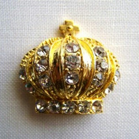 Golden Crown Rhinestone Button (32x31mm)