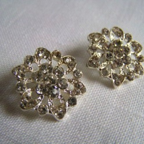 Sparkly Glass Buttons x 2 (20mm)