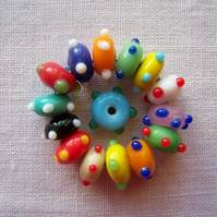 15 x Flying Saucer Hand-Made Glass Beads