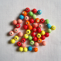 50 x Dinky Colourful Ceramic Beads (6mm)