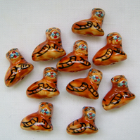 10 x Tiger Ceramic Beads (25x18mm)