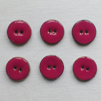 6 x Dark Pink Enamelled Coconut Shell Buttons - 18mm