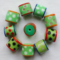10 x Happy Beads - Green