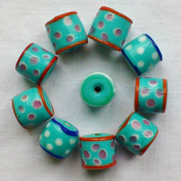 10 x Happy Beads - Turquoise