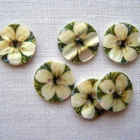 6 x Jasmine Shell Buttons (17mm)