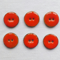 6 x Orange Glossy Coconut Shell Buttons - 18mm