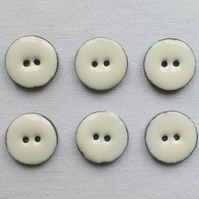 6 x White Glossy Coconut Shell Buttons - 18mm