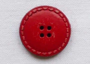 Large Red Genuine Leather Button -28mm