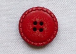 Medium Red Genuine Leather Button - 24mm