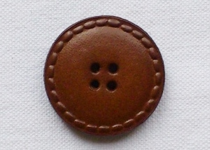 Large Brown Real Leather Buttons - 28mm