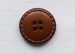 Medium Brown Genuine Leather Button - 24mm