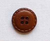 Small Brown Real Leather Button - 17mm