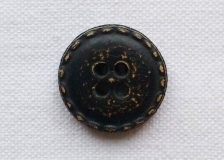 Small Black Genuine Leather Buttons - 17mm