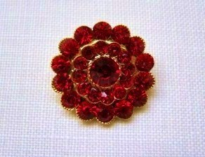 Ruby Red Glass Rhinestone Button - 25mm
