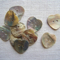 10 x Natural Shell Heart Buttons (15mm)