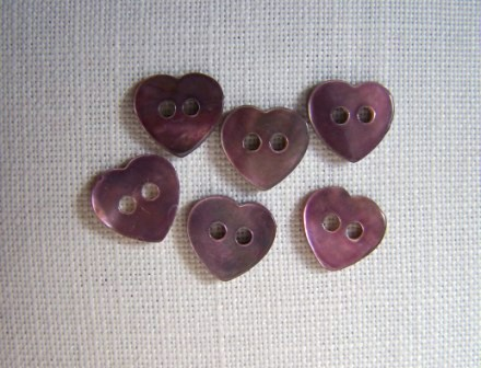 6 x Tiny Purple Heart Shell Buttons (10mm)