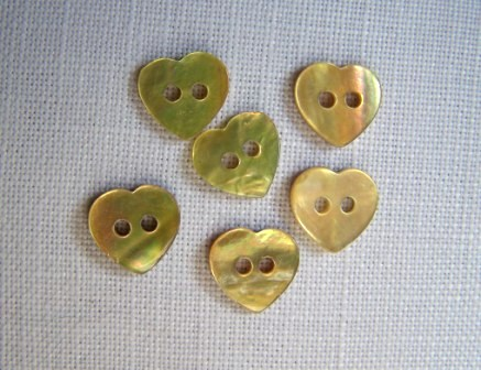 6 x Tiny Yellow Heart Buttons (10mm)