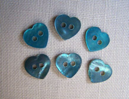 6 x Tiny Blue Shell Buttons (10mm)