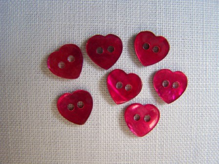 7 x Tiny Red Heart Shell Buttons (10mm)