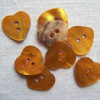 8 x Golden Yellow Heart Shell Buttons (15mm)
