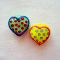 2 x Sweetheart Handmade Lampwork Beads (15x20mm)