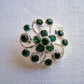 Dark Green Silver Rhinestone Button (22mm)