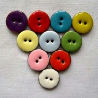 10 x Happy Coconut Shell Buttons (18mm)