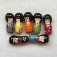 7 x Little Lady Ceramic Beads
