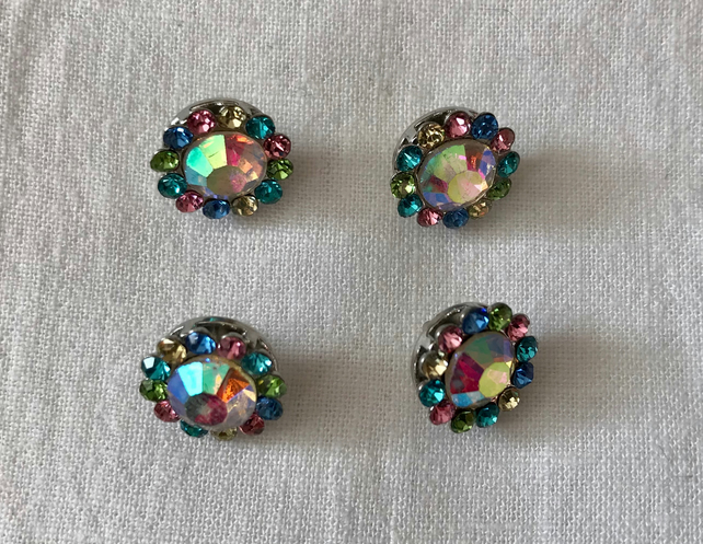 4 x Sparkly Glass Darling Buttons (12mm)