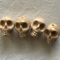 4 x Day Of The Dead Ceramic Beads